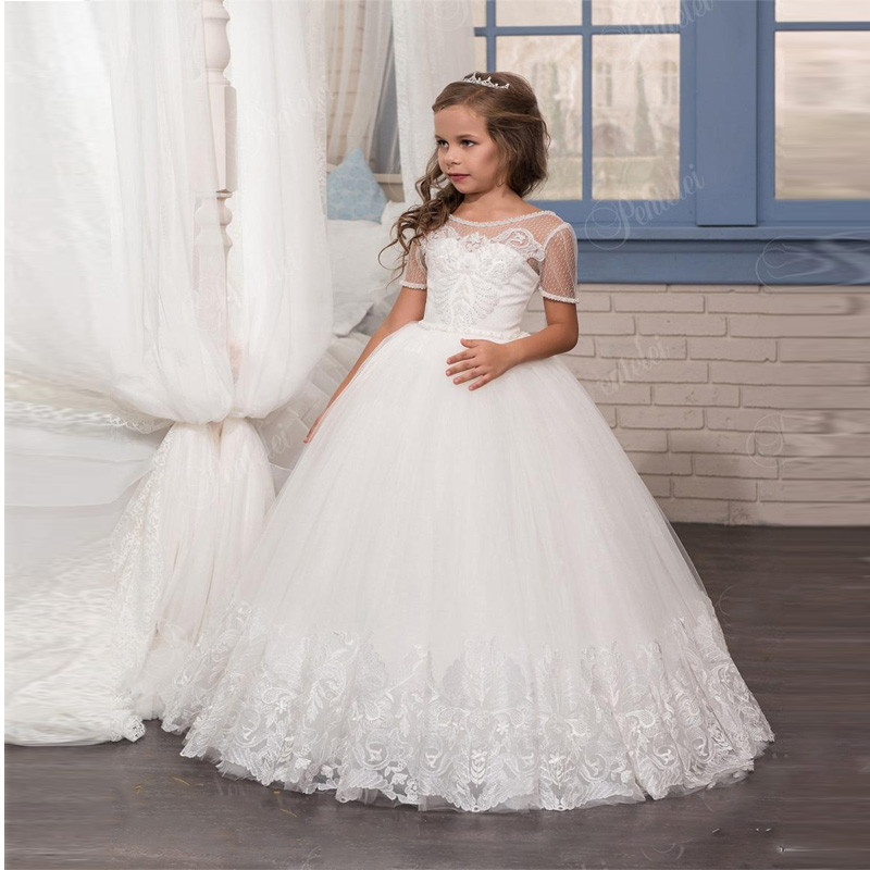 White and Ivory Flower Girls Dresses with Short Sleeves Beaded Crystals Appliques Tulle First Communion Gowns for Little Girl