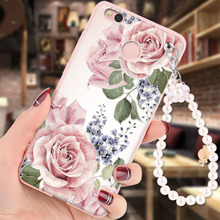 Xiaomi Redmi 4X Case Soft Silicon 3D Relief Painting Pearl bracelet Fashion Girl Back Cover capa for Redmi 4X cases coque