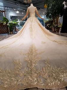 Image 2 - HTL125 muslim wedding dresses 2020 o neck long tulle sleeve beaded shiny lace cheap wedding gown fashion New material mariage