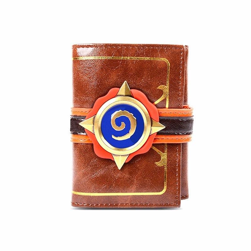 Homme court porte-monnaie personnalité jeu passionné Hearthstone 3D Logo Plié Portefeuille Foyer De La Pierre Portefeuille Brun