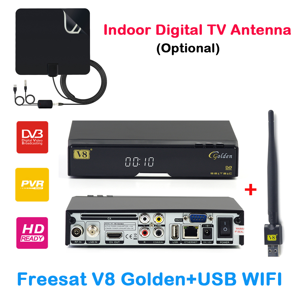 DVB-T2 HD Freesat V8 golden Receptor Support IPTV powervu Biss key IPTV USB WiFi DVB-T2 DVB-S2 DVB-C Freesat Satellite Receiver wholesale freesat v7 hd dvb s2 receptor satellite decoder v8 usb wifi hd 1080p support biss key powervu satellite receiver