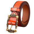 Hot 2016 Genuine Leather Women Belt Fashion Vintage Metal Embossing Leather Belts for Women Strap Female Pin Buckle