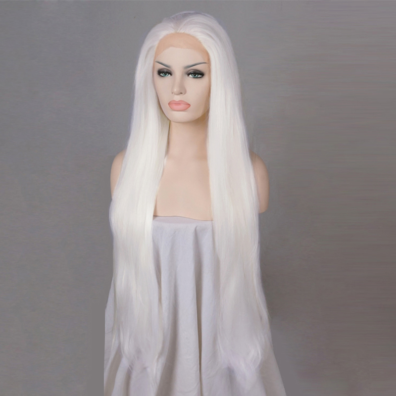 """20"""" White Straight Daily Hair Fashion Long Lace Front Wig Heat Resistant+cap H793516b Nourishing Blood And Adjusting Spirit"""