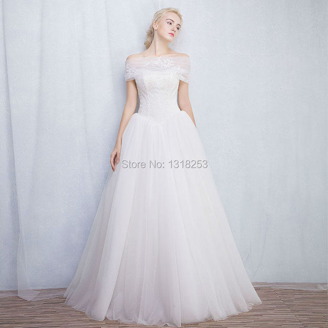 Aliexpress.com : Buy Strapless Lace Tulle Wedding Dresses with Long ...