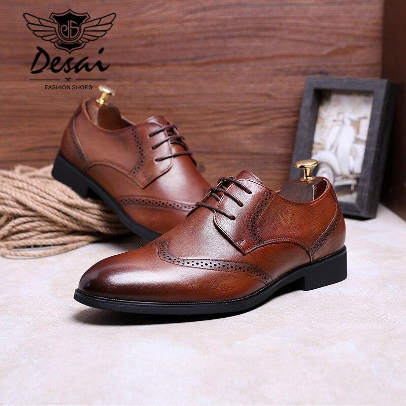fd3e527243 Calzado Negocios Cómodos Para Zapatos Genuino Del Pie Hombres Desai Marca  brown Punta Negro De Dedo Cuero Vestir ...