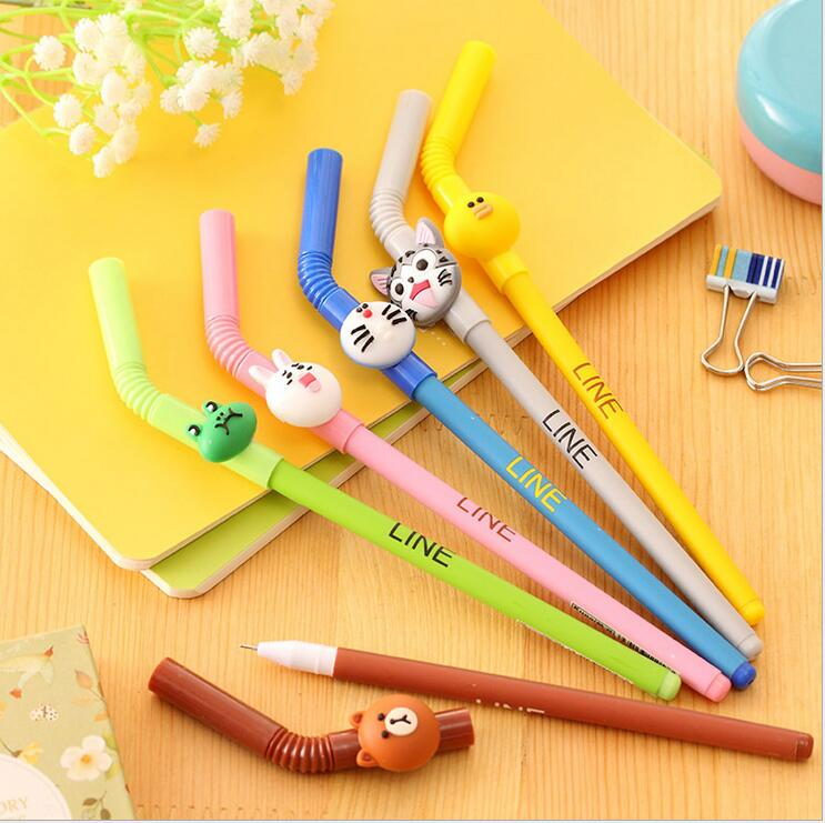 6 pcs/Lot Cartoon straw gel ink pen Cute Line friends Brown bear Doraemon Stationery Office School supplies lapices caneta ...