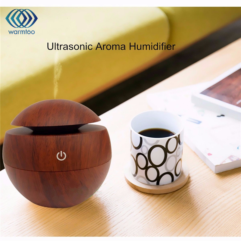 Wooden Grain USB LED Light Ultrasonic Cool Mist Aromas Humidifier <font><b>Air</b></font> Diffusers Fragrances For Office Home Car Usdd