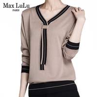 Max LuLu Winter Fashion Korean Style Vintage Wool Knitwear Womens Cotton Knitted Sweaters Striped Warm Female V Neck Pullovers