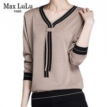 Max LuLu mode hiver Style coréen Vintage laine tricots femmes coton tricoté chandails rayé chaud femme col en V pulls