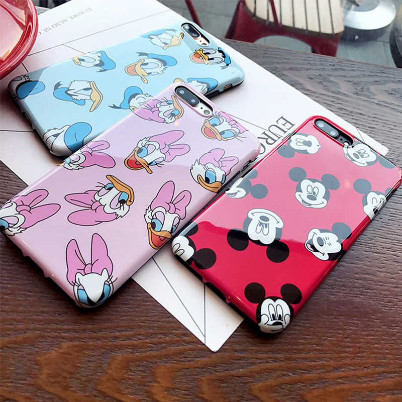 Silicone IMD Mickey Case for iPhone XS MAX 6s 7 8 Plus 7Plus 8Plus funda Pink Soft TPU Daisy Cover for Coque iPhone XR Case Capa