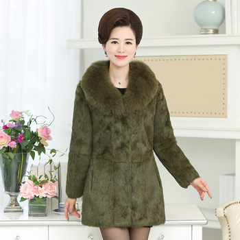 High quality whole skin natural rabbit fur jackets with real fox fur collar 2018 autumn winter medium long fur coats outerwear