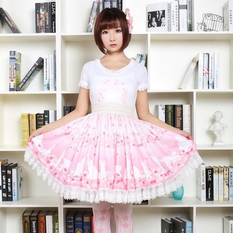 Imperio Gato Flor Encaje Mori Niña Mini Dulce Falda Lindo Estilo Rosa Cerezo Princesa Impresión Lolita Japonés Nuevo De ZYwtaa