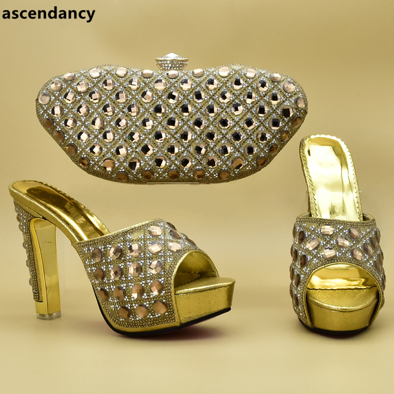 Las Tacones De fuchsia Con plata A Mujeres oro En Italiano Slip Bolsos Juego Azul África Bolso vino Diamantes Tinto Zapatos Y Imitación AxwfWq70