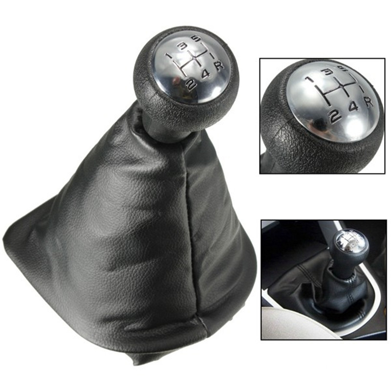 Black Chrome Leather Car Auto 5 speed Manual Gear Stick Shift Lever Knob fit for Peugeot 207 307 406
