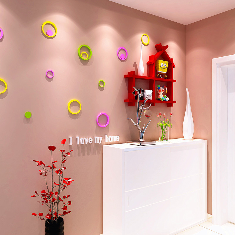 Free Shipping DIY House Decoration Wooden Background TV Wall Shelf ...