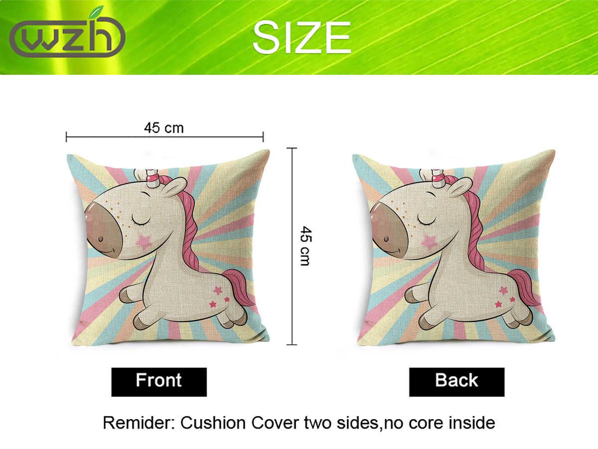 Wzh Unicorn Kuda Linen Bantal Penutup 45 Cm X 45 Cm Linen Dekoratif Bantal Cover Sofa Bed Bantal Case