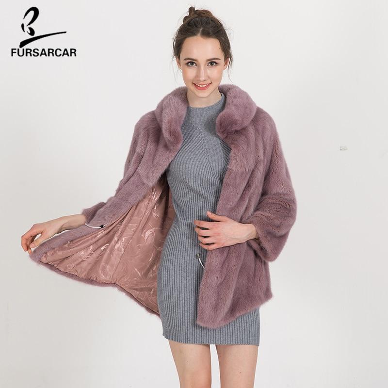 FURSARCAR Téli meleg természetes szőrme kabát Női magas - Női ruházat