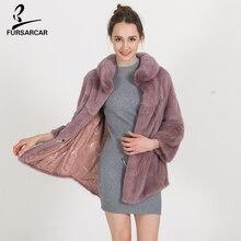 FURSARCAR Winter Warm Natural Fur Coat Women High Quality Mink Fur Jacket Overcoat Fashion Designer Mink Coats Female BF-C0487