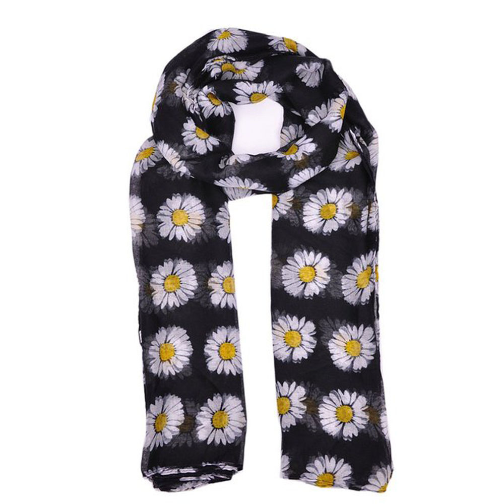 Lady Womens Long Cute Daisy Flower Print   Scarf     Wraps   Shawl Soft   Scarves   For Women   Scarves   Print Shawl Lady Soft foulard femme A9