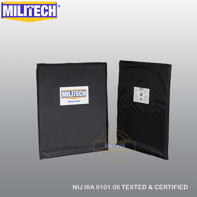 MILITECH 11 x 14 T Cut Pair Bulletproof Aramid Ballistic Panel + E2 Stab Resistant Body Armor Soft NIJ Level IIIA 3A NIJ 0115.00 militech nij iiia lvl 3a rated steel bulletproof insert nij level 3a bulletproof backpack panel student bag bullet proof panel