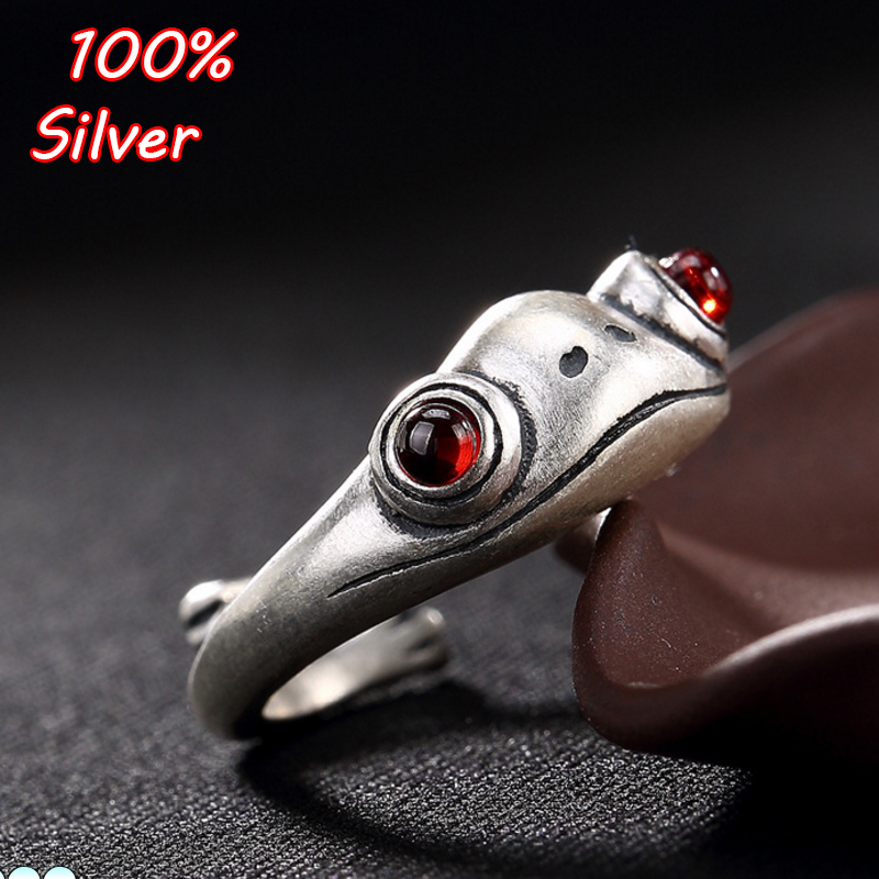 S990 Sterling Silver Vintage Gold Toad Inlaid Garnet font b Ring b font Open Women Silver