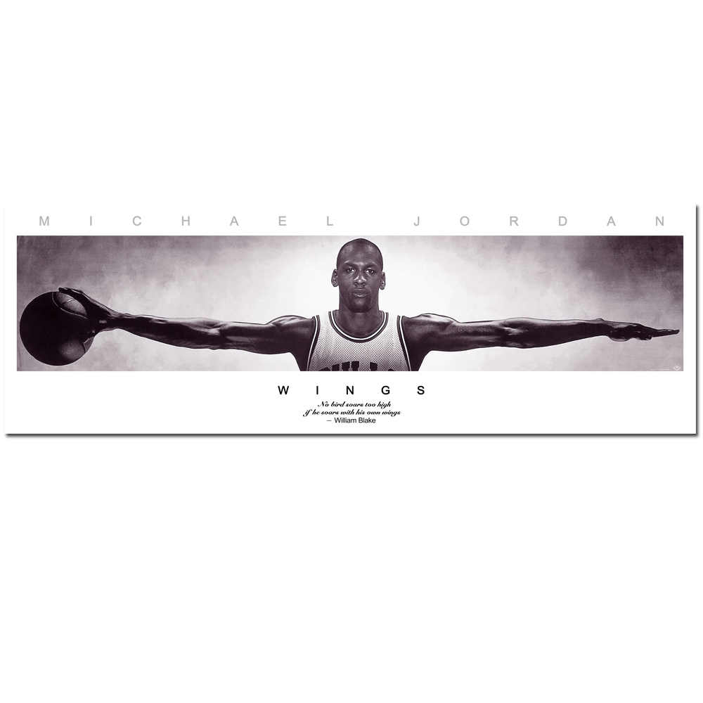 TAAWAA Michael Jordan Wings Basketball Art Silk Fabric Poster Print 30x90 cm 50x150 cm Wall Picture Home Living Room Decoration