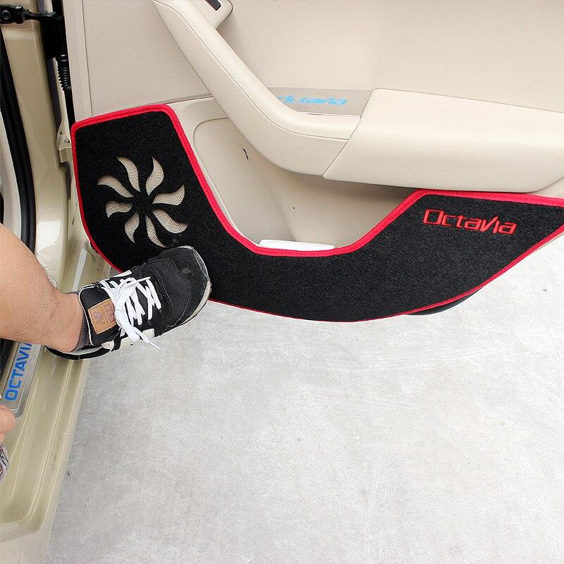 Car Styling Door Protector Pad Door Plank Anti Kick Pad Mat Cover Sticker For Skoda Octavia A7 2015 2016 2017 Auto Accessories yi 221 door guard protector decorative sticker for auto car white 4 pcs