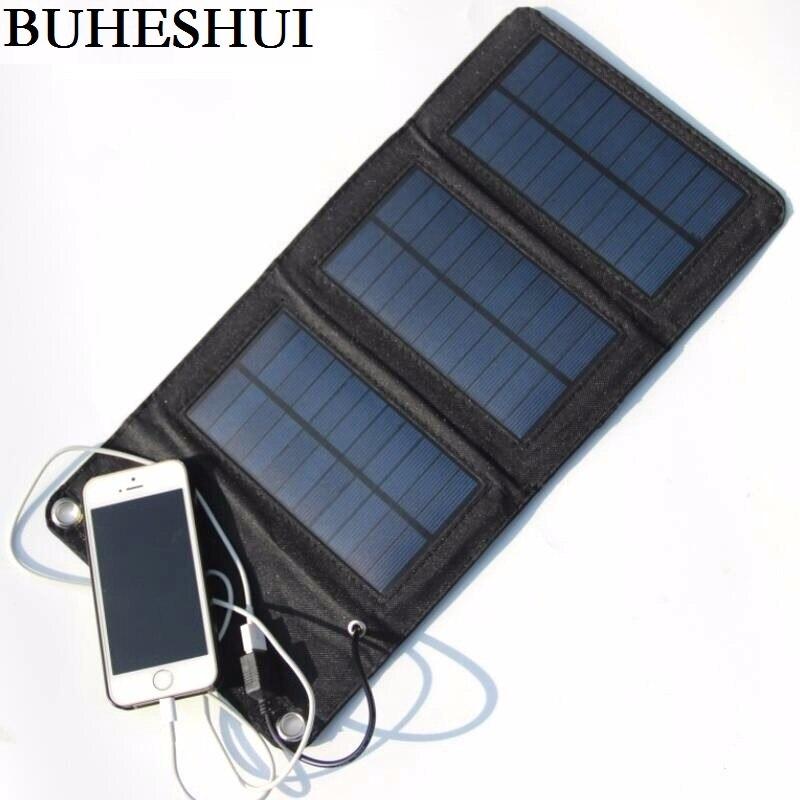 BUHESHUI 5 W Painel Solar Dobrável Carregador Solar Carregador de Energia Móvel Carregador de Bateria Para Telefone Celular Monocristalino Frete Grátis