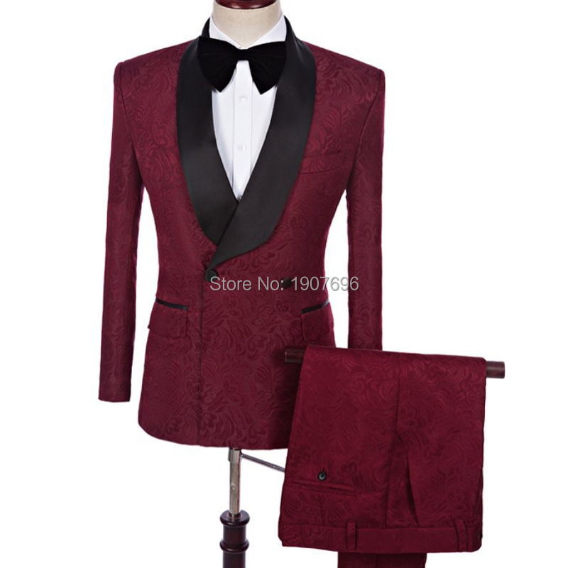 Burgundy Slim Fit Men Suits For Wedding With Double Breasted Harringbone Blazer Latest Style Groom Tuxedos 2 Piece Jacket Pants
