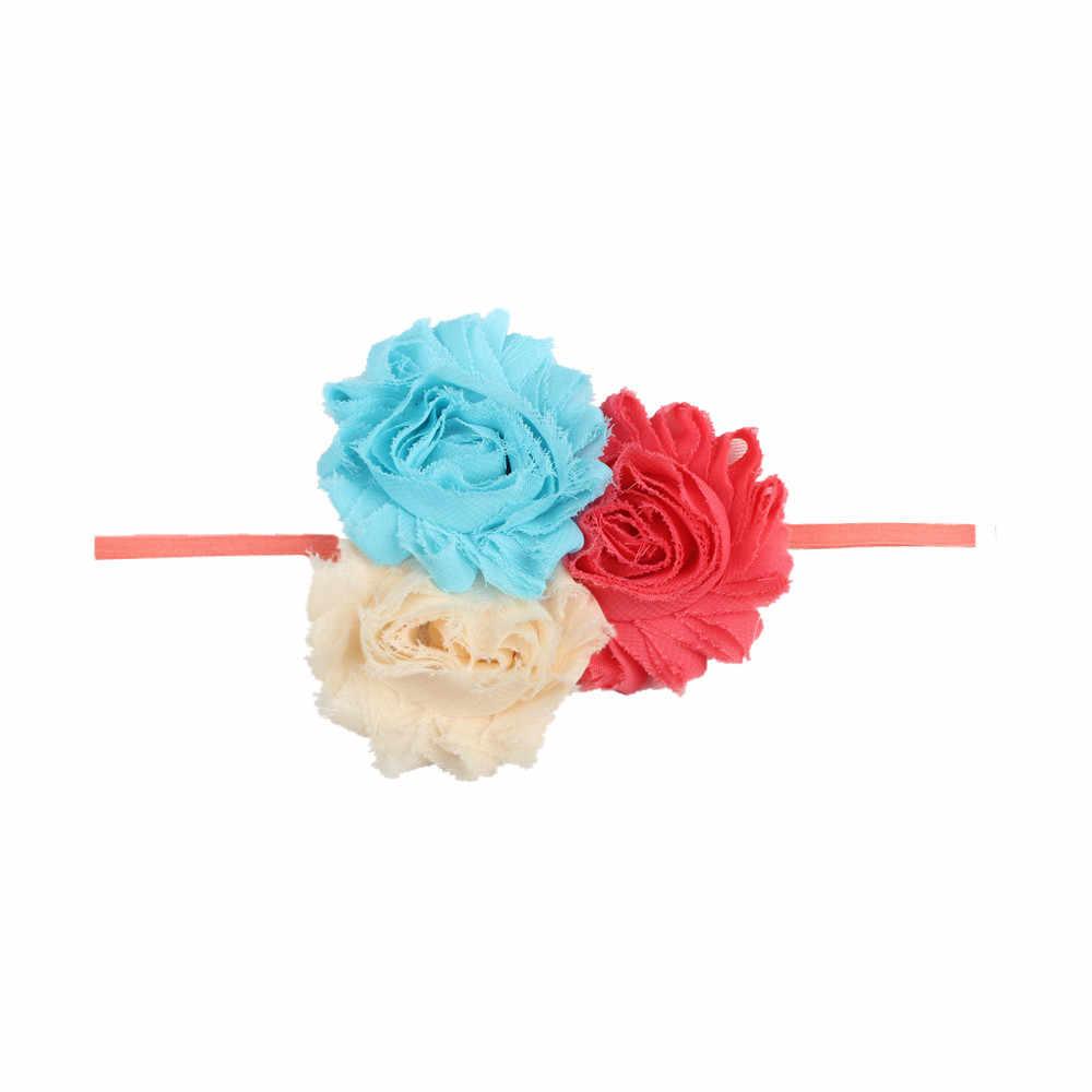 חדש 1 Pcs בנות בגימור יילוד יפה תינוקת גומייה לשיער 3 צבע פרח שיפון בגימור ילדים אבזרים לשיער