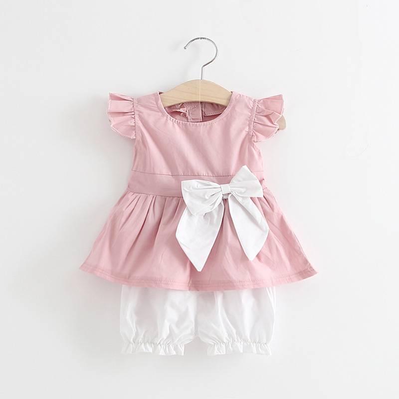 The New Children's Set Bowknot T-shirt and Pants 2 Piece Suit 2017 Girls Summer Clothes Pleasantly Cool Baby Girl Clothing