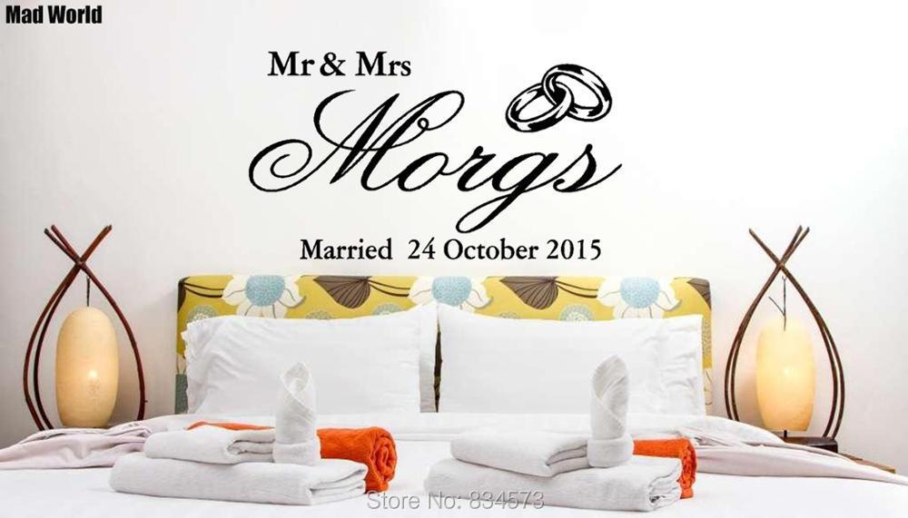 Mad World-Personalized Mr Mrs Wedding Wall Art Stickers Wall Decal Home DIY Decoration Removable Room Decor Wall Stickers