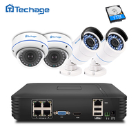 Plug And Play 4CH 1080P POE NVR 2 0MP CCTV System Dome IP Indoor Outdoor Camera