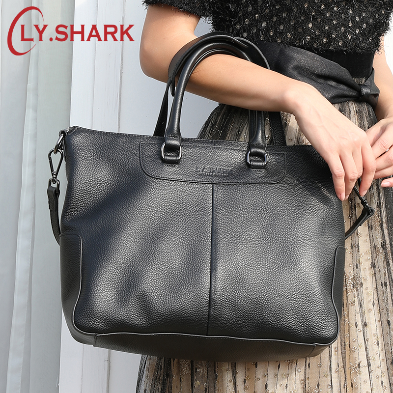 LY SHARK Genuine Leather Bag Women Shoulder Bag For Women 2019 Big Handbag Women Famous Brand