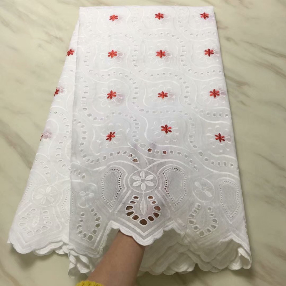 High Quality Swiss Voile Laces Switzerland Cotton African Dry Cotton Lace Fabric White Hollow Out Nigerian