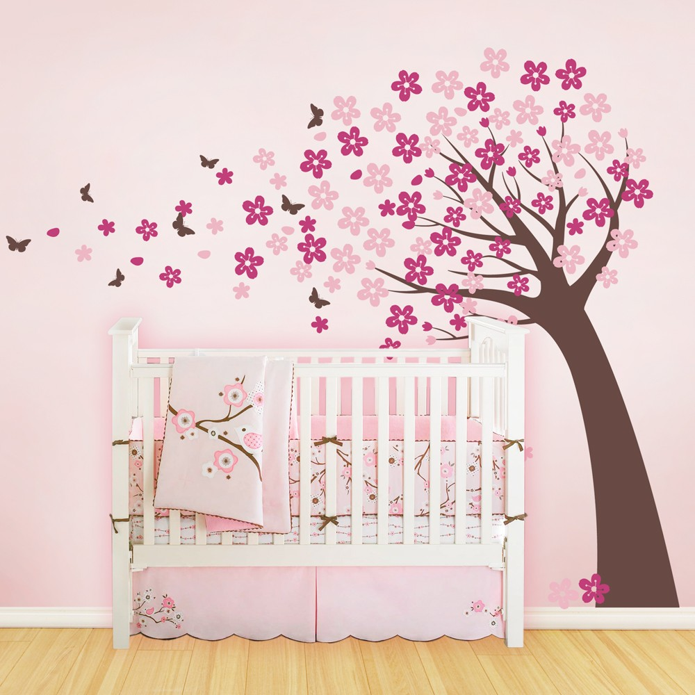 Cherry Blossom Large Tree Wall Stickers For Kids Room Baby Nursery Art Decal Removable Vinyl Erfly Mural A403