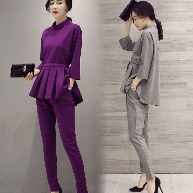 Las Pant Suits 2017 Spring Autumn O Neck Ruffles Female Business Women Evening Suit Elegant Pants For Wedding Gray
