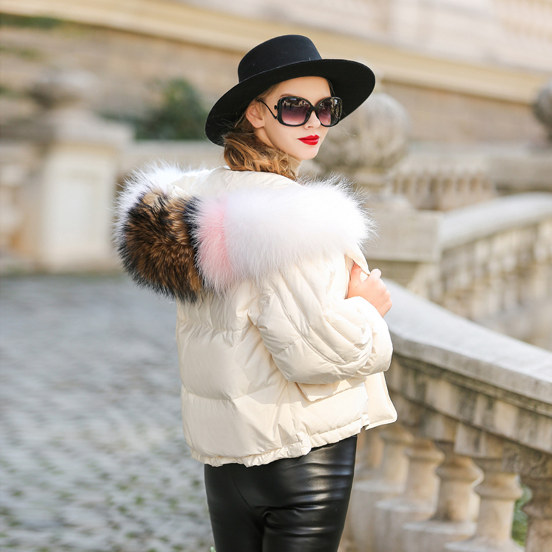 Europe Short Women   Down     Coats   Female Thick Hooded Jackets With Fur Collar Warm Winter   Coats   90% White Duck   Down   Outerwear OL