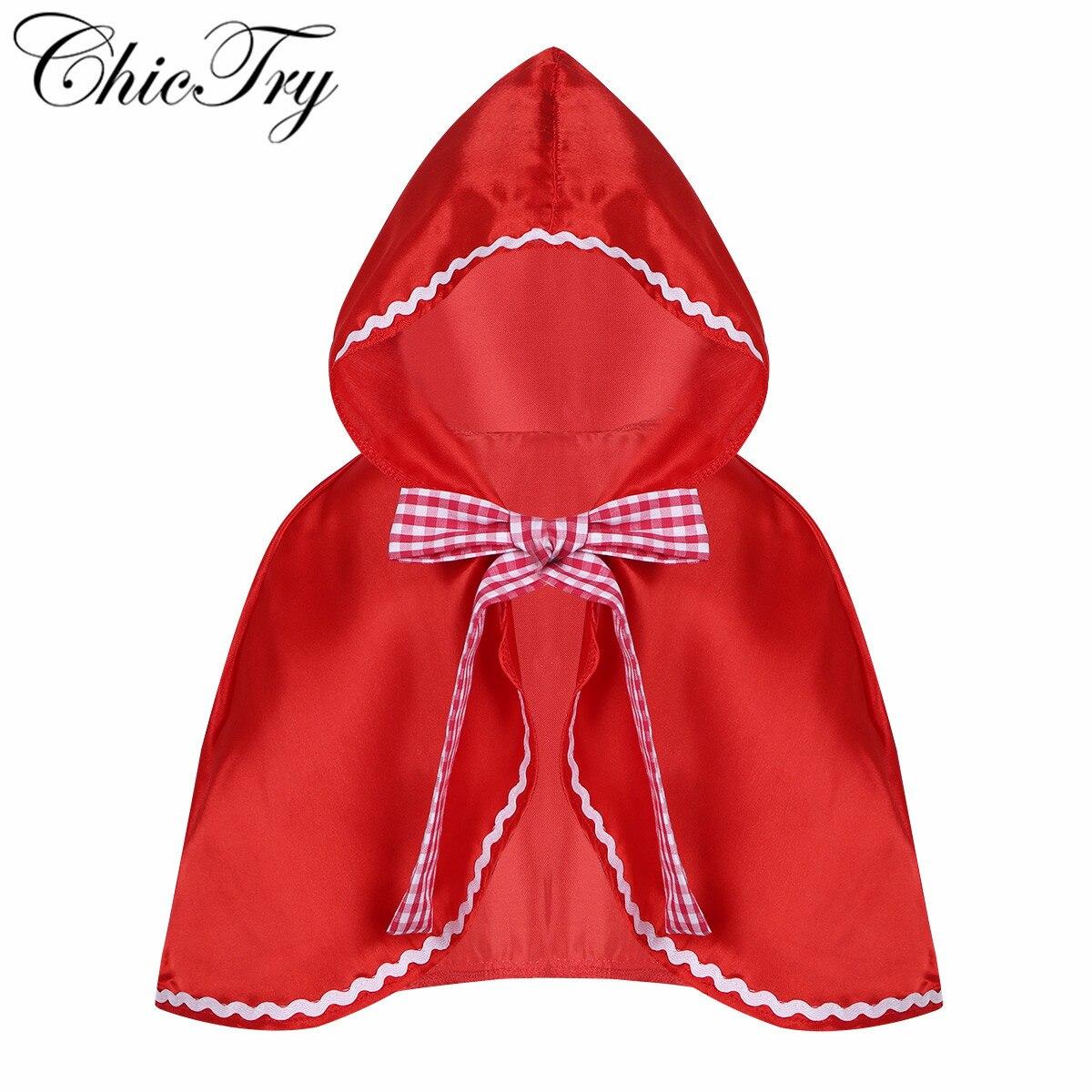 Little Red Riding Hood Costume Cape Dress Up Halloween Cloak Cosplay Princess Cloak Coar For Toddler Little Kids Teenage Girls