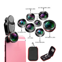 Cellphone Lens 7 in 1 Kits Phone Camera Lens Fish Eye Wide Angle Macro Lens CPL 2X Telephoto Zoom for iPhone X 8 7 7s for Huawei