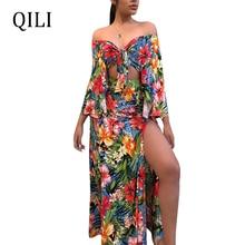 QILI Women Beach Dress Leaves Floral Print Split Long Sleeve Two Piece Set Casual Dresses Sexy High Split Long Maxi Dress