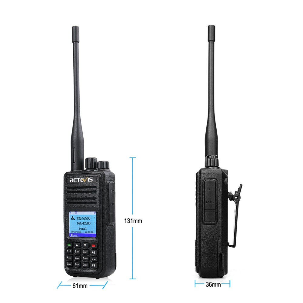 band digital Retevis RT3S Dual Band DMR Radio Digital Walkie Talkie GPS DCDM TDMA Ham Radio Station Hf Transceiver + Accessories (3)