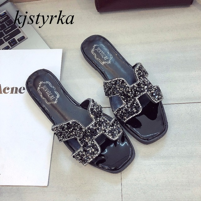 ea6c91b43f152 Kjstyrka 2018 brand Design Women Slippers shiny glitter bling slides Peep  Toes flip flop ladies Flats Shoes sandalia feminina