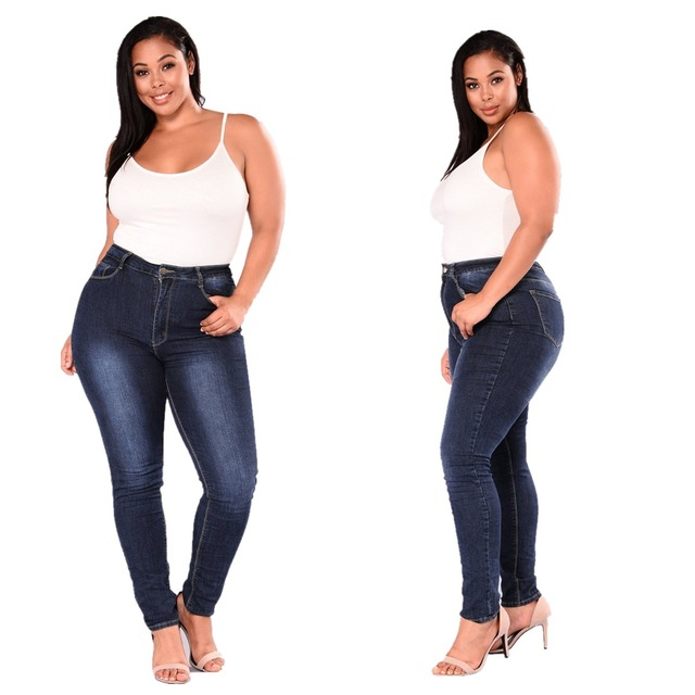 2018 New Style Women's Jeans European And American Slim Pencil Pants Plus-Sized 2XL-7XL Casual Jeans