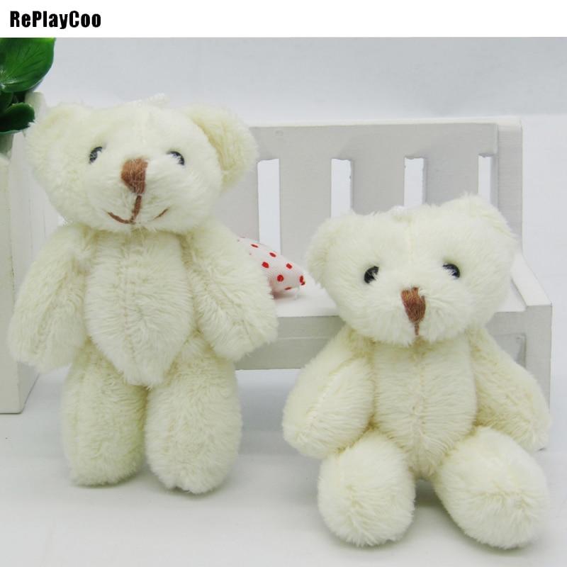 100PCS LOT Kawaii Small Joint Teddy Bears Stuffed Plush 6CM Toy Teddy Bear Mini Bear Ted