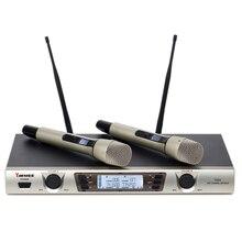 Yarmee YU23 dois canais UHF microfone sem fio para Karaoke/clube de música/pequeno palco/hotel/escola e conferência