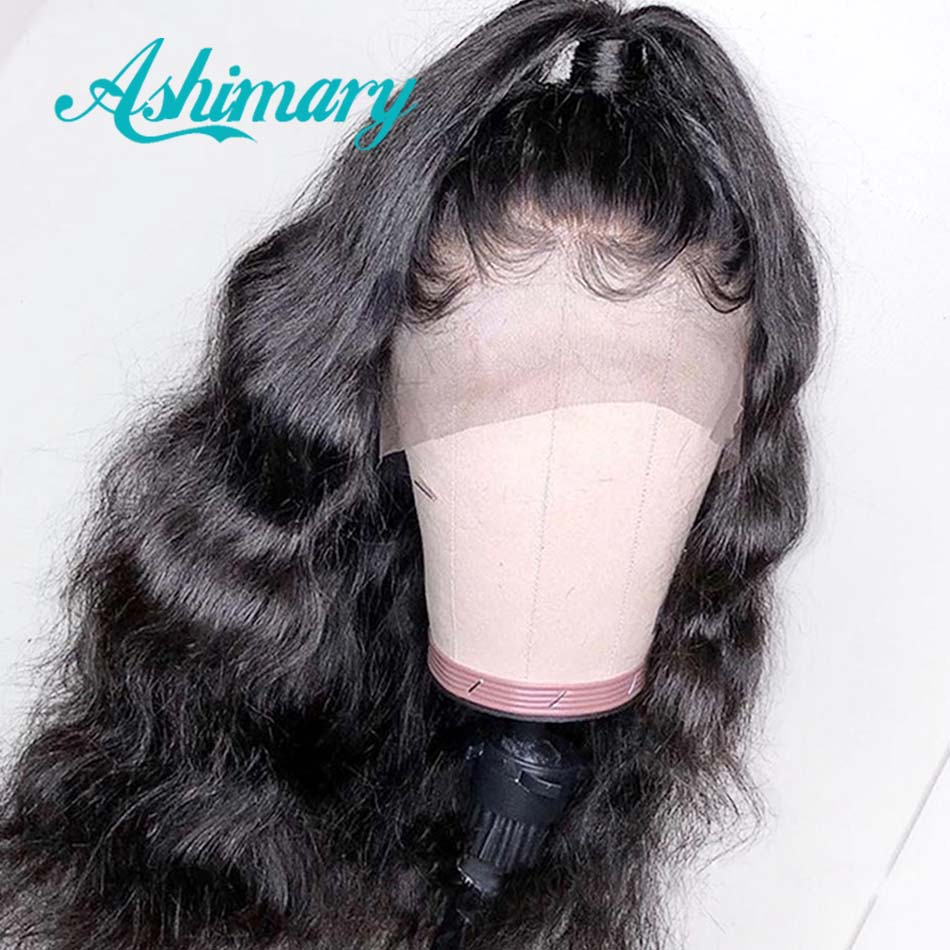Ashimary Wig Baby Hair Body-Wave 360-Lace Black Women Brazilian Pre-Plucked with Frontal
