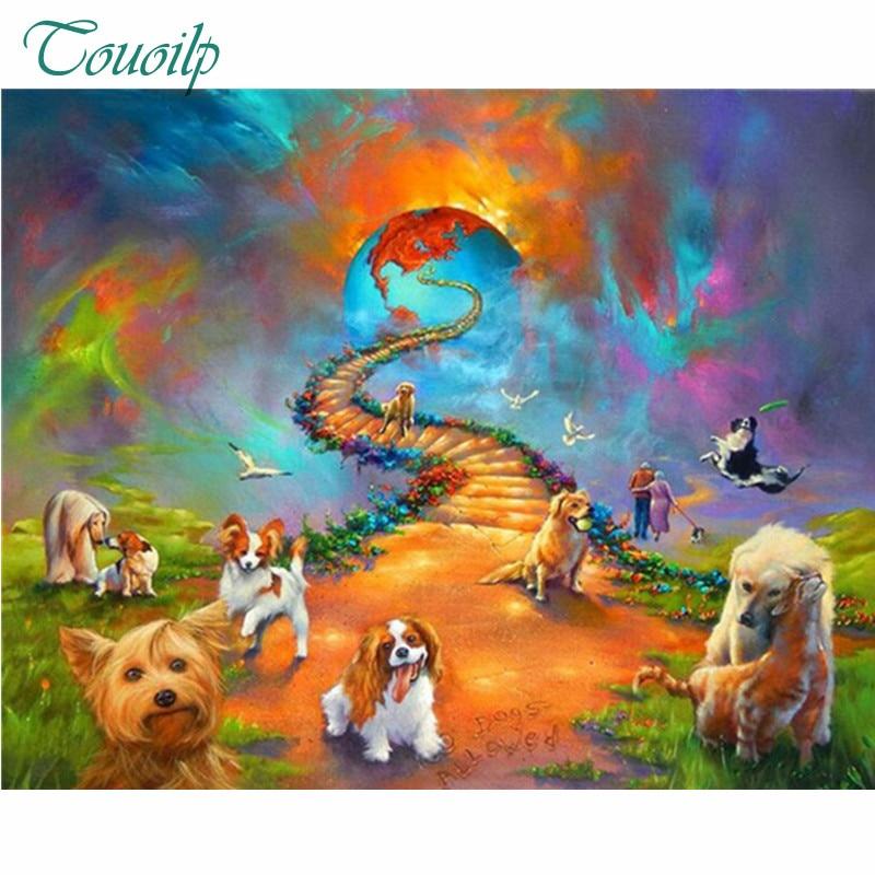 world cup diamond painting custom full square cat dog heaven rainbow