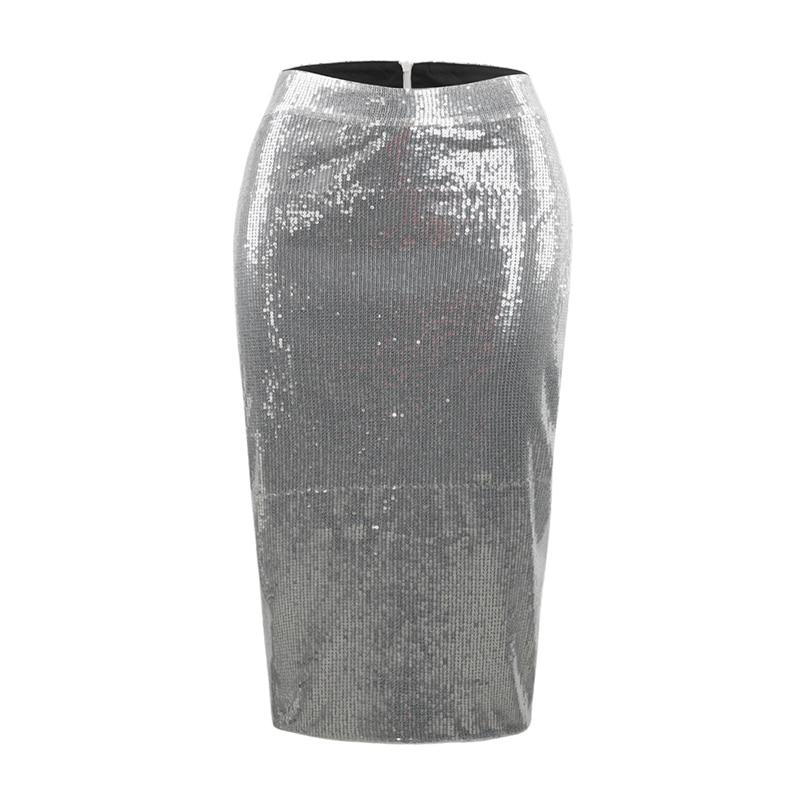 MINSUNDA Elegant Silver Sequins Midi Skirt Women Casual Bodycon Nightclub Skirts Office Ladies Workwear High Waist Pencil Skirt in Skirts from Women 39 s Clothing