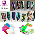 KADS New Arrival 21Pcs/pack Different Colors Nail Art Stickers Broken Glass Pieces Mirror Foil Decals Beauty Decoration Tool DIY